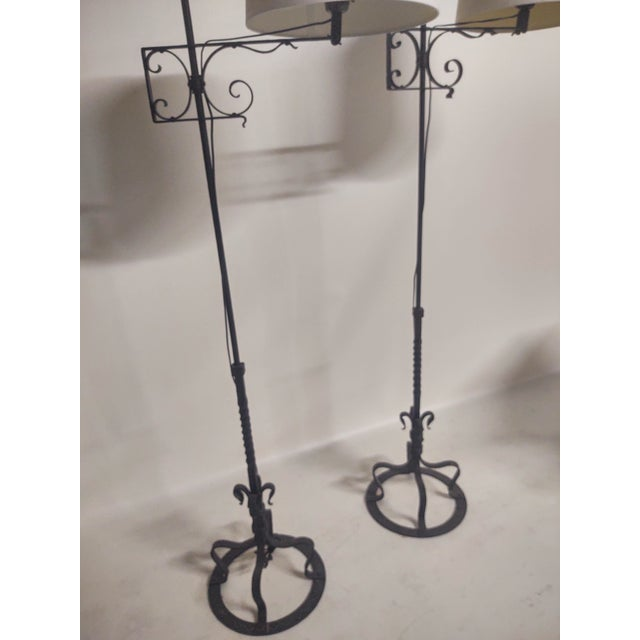 Metal Spanish Hand Wrought Floor Lamps- a Pair For Sale - Image 7 of 13
