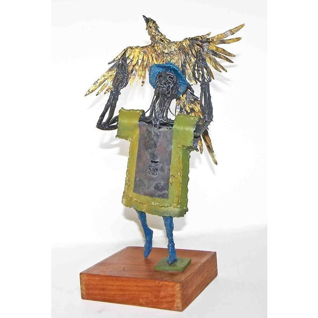 1960s Abstract Bob Fowler Metal Art Work Sculpture of Man Holding Eagle For Sale - Image 4 of 11