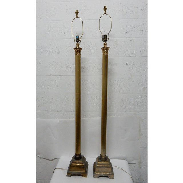 Speer Brass Floor Lamps With Harp - A Pair - Image 2 of 10