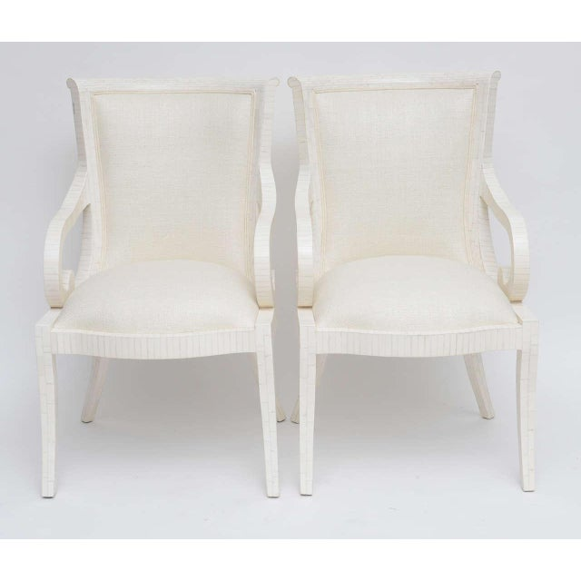 Pair of Tessellated Bone Armchairs With Silk Upholstery For Sale In Miami - Image 6 of 10