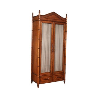Century Faux Bamboo Bedroom Armoire Cabinet For Sale