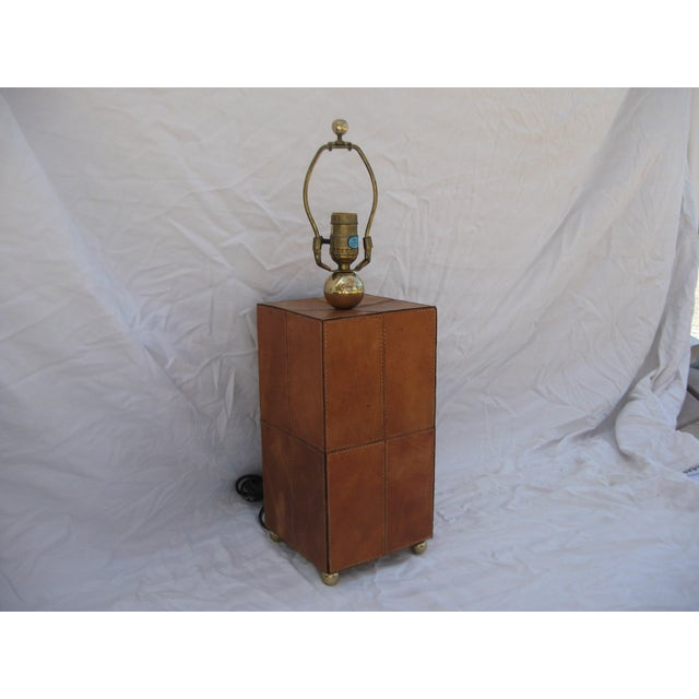 Jean Royere Attributed Leather Patch Lamp - Image 5 of 8