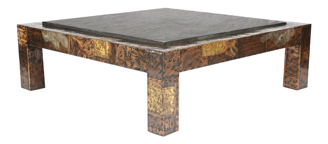 1970S PAUL EVANS SLATE TOP PATCHWORK COFFEE TABLE   Image 1 Of 10