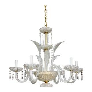 Vintage Italian Murano Glass Leaves Crystal Gold Chandelier Light For Sale