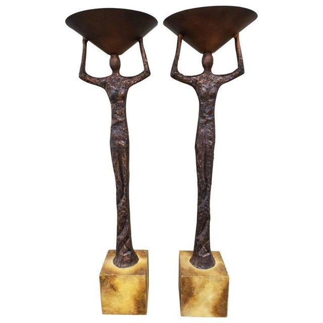 Alberto Giacometti Style Figural Floor Lamps - a Pair For Sale - Image 13 of 13