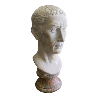 Julius Ceasar Roman Bust Hand Carved Stone Sculpture For Sale