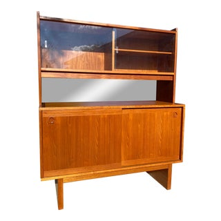 1970s Vintage Danish Mid Century Teak Credenza With Bookcase Top For Sale