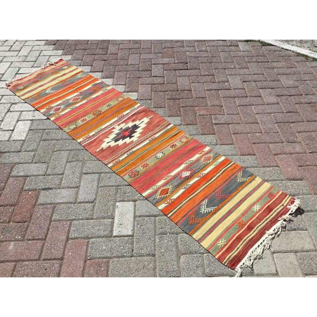 Orange Vintage Turkish Kilim RugTurkish Kilim Runner Rug For Sale - Image 8 of 8