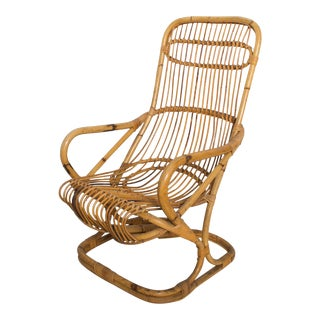 Mid Century Modern by Tito Agnoli, Tall Wicker Lounge Chair, Italy For Sale