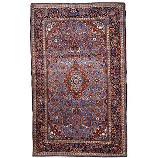 1900s, Handmade Antique Persian Kashan Rug 4.1' X 6.6' - 1b706 For Sale