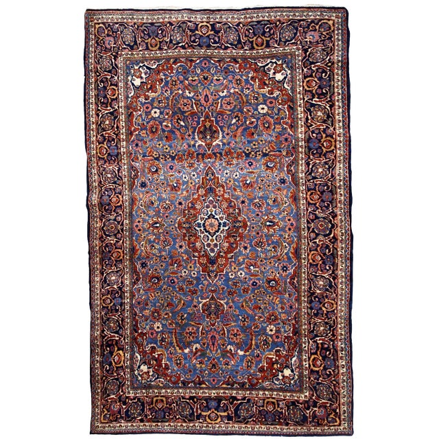 1900s, Handmade Antique Persian Kashan Rug 4.1' X 6.6' - 1b706 For Sale