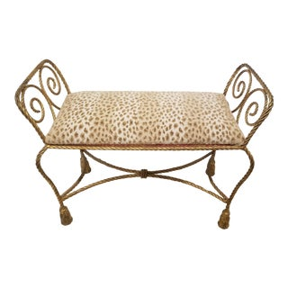 Vintage Italian Gilt Iron Rope Bench For Sale