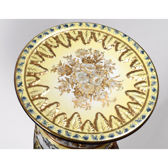 Gold French Neoclassical Style Porcelain Plant Stand With Cache Pot - 2 Pc. Set For Sale - Image 8 of 13