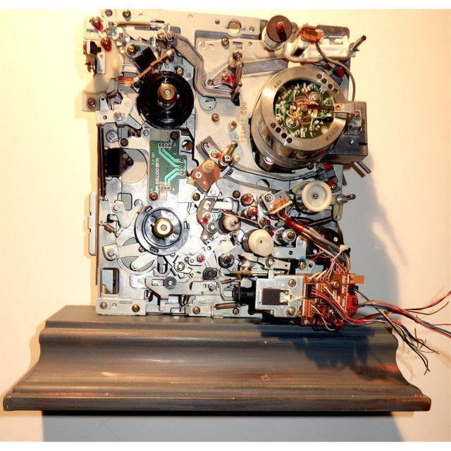 Component Art Sculpture Mounted on Wood Like Base. Vintage Tv. Mid-Later 20th Century For Sale - Image 12 of 12