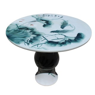 Chinese Lotus & Fish Round Porcelain Table For Sale