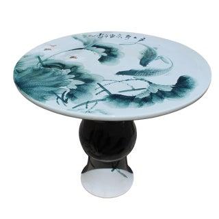 Chinese Lotus & Fish Round Porcelain Table