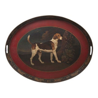 Vintage Oval Tray With Handpainted Dog For Sale