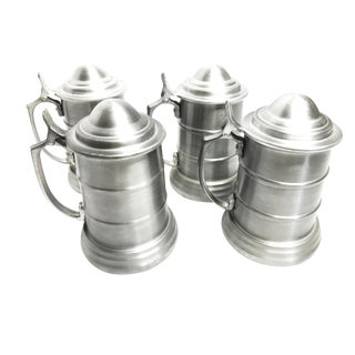 Vintage Mid Century Aluminum Metal Lidded Beer Tankard Steins - Set of 4