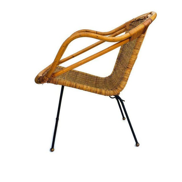 Mid Century Rattan & Sculpted Bamboo Hoop Chair Cast Iron Legs For Sale - Image 10 of 11
