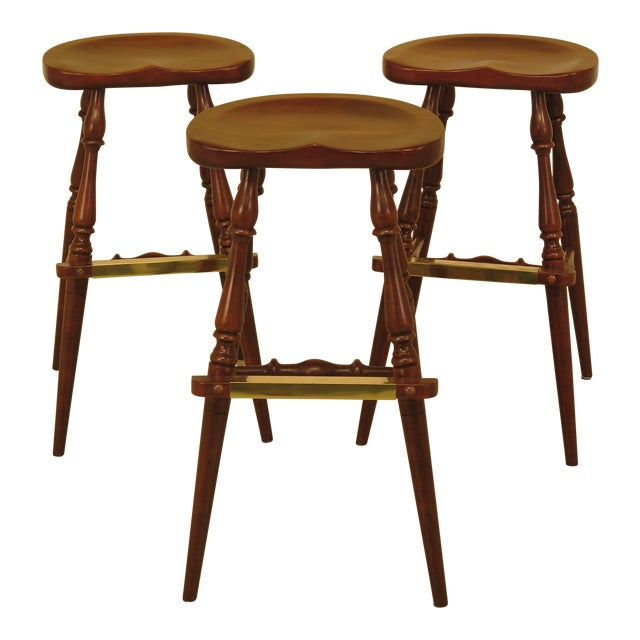 Frederick Duckloe Cherry Saddle Seat High Seat Bar Stools - Set of 3 For Sale