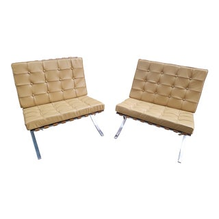 Vintage Early Knoll Associates Art Metal Barcelona Chairs- a Pair For Sale