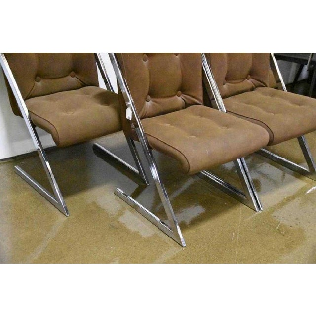 Mid-Century Modern Milo Baughman for Dia Chrome Z-Bar Cantilever Dining Chairs -Set of 4 For Sale - Image 3 of 12