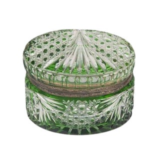 Oval Green Cut Crystal Box For Sale