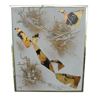 Vintage Abstract Decoupage on Canvas For Sale