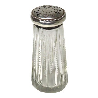Antique Sterling Silver & Hand Cut Crystal Sugar Shaker For Sale