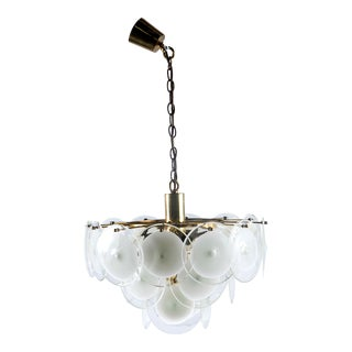 Gino Vistosi 1960s Chandelier with White and Clear Glass Disks