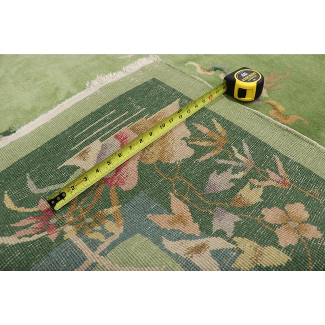 1920s Green Antique Chinese Art Deco Rug - 7′8″ × 8′9″ For Sale - Image 5 of 9