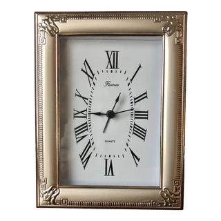 Italian Florentine Sterling Silver Desk Clock-Wood Easel Back For Sale