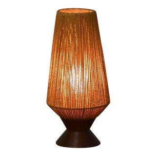 Vintage Walnut MCM Table Lamp For Sale