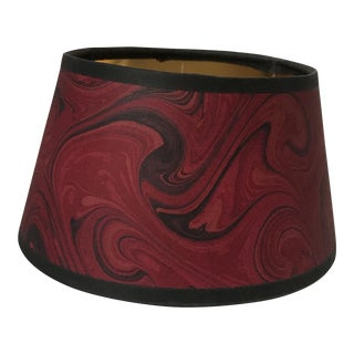 Vintage Red Marbleized Paper Bouillotte Lamp Shade