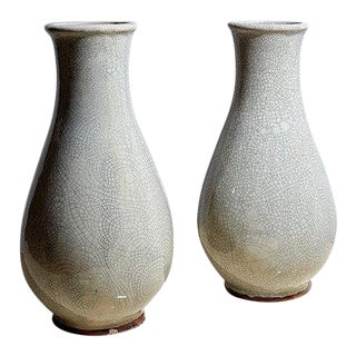 Pair of Pale Grey Faience Crackleware Vases For Sale