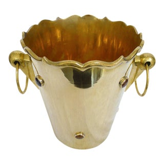 Brass Ice Bucket with Carnelian Cabochons