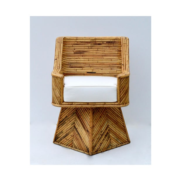 Gabriella Crespi Rare Bamboo Swivel Chairs in the Manner of Crespi For Sale - Image 4 of 11