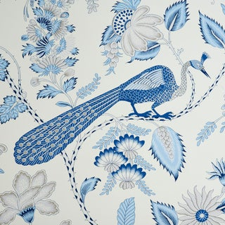Schumacher Campagne Wallpaper in Bleu & Gris (8 Yards) For Sale