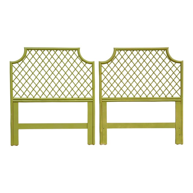 1970s Chinoiserie Twin Rattan Headboards - a Pair For Sale