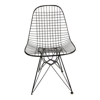 Charles Eames Wire Eiffel Chair Dkr in Black Coated Metal for Herman Miller For Sale