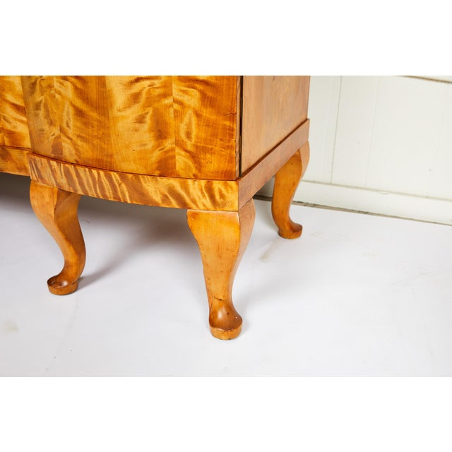 Swedish Art Deco Sideboard of Bookmatched Golden Flame Birch For Sale - Image 4 of 13