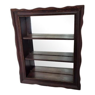 Vintage Petite Wood Shelf Wall Hanging Mirror For Sale