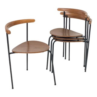 Set of 4 Scandinavian Stacking 3- Legged Teak, Beech, and Metal Dining Chairs For Sale