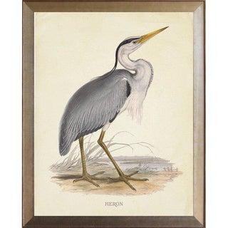 Heron in Distressed Metallic Frame 25x31 For Sale