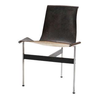 Mid Century Katavalos for Laverne International Steel & Leather 'T-Chair' For Sale