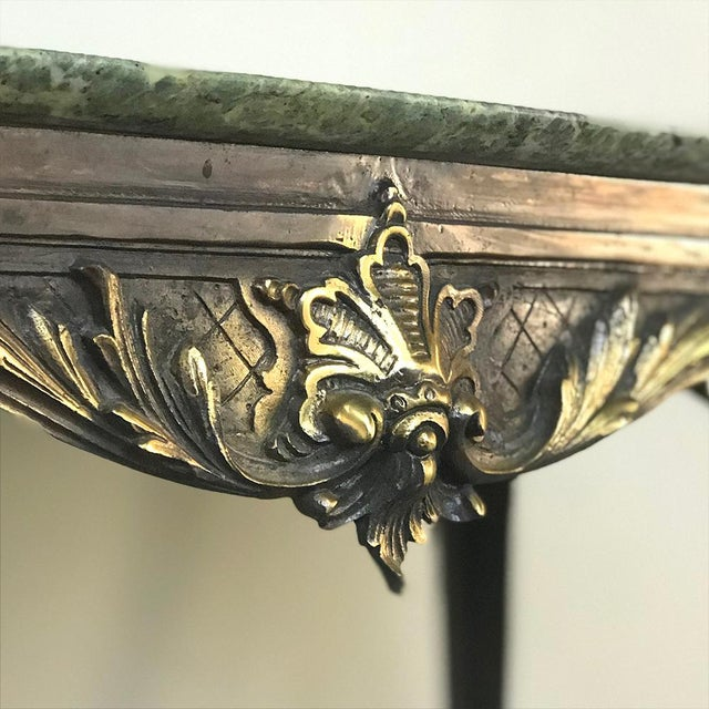 Mid-Century Italian Louis XIV Brass & Marble Coffee Table For Sale - Image 9 of 12