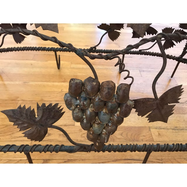 1970s Custom Crafted Enchanting Wrought Iron Grape Vine Pot Rack For Sale - Image 4 of 13