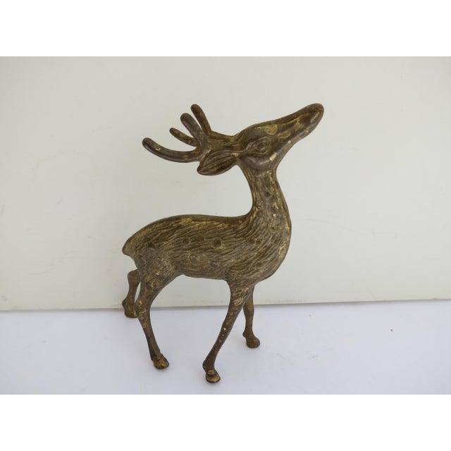 American Vintage Brass Deer Figurine For Sale - Image 3 of 3