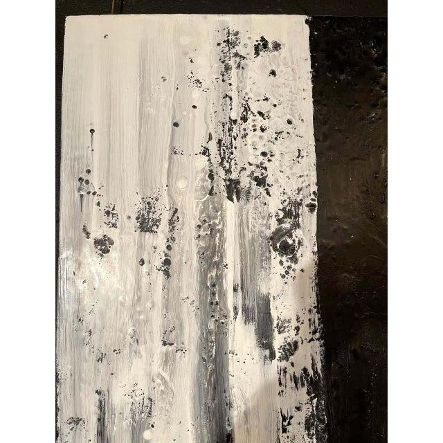 "Lynn Basa Encaustic Black and White Stripe Panel ""Three Ways of Looking Black"" For Sale - Image 4 of 13"