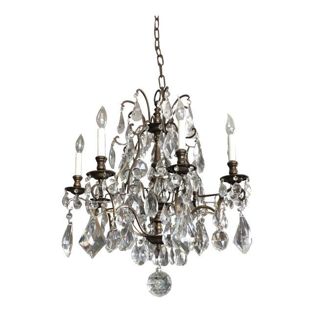 1930s Vintage Lead Crystal 8 Light Chandelier For Sale